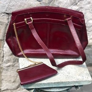 Vintage burgundy leather purse with mirrors